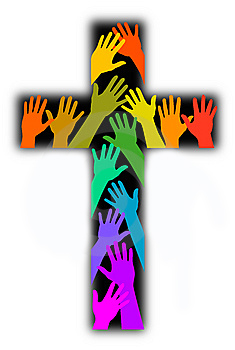 LGBT Church Religion Cross Rainboew Hands