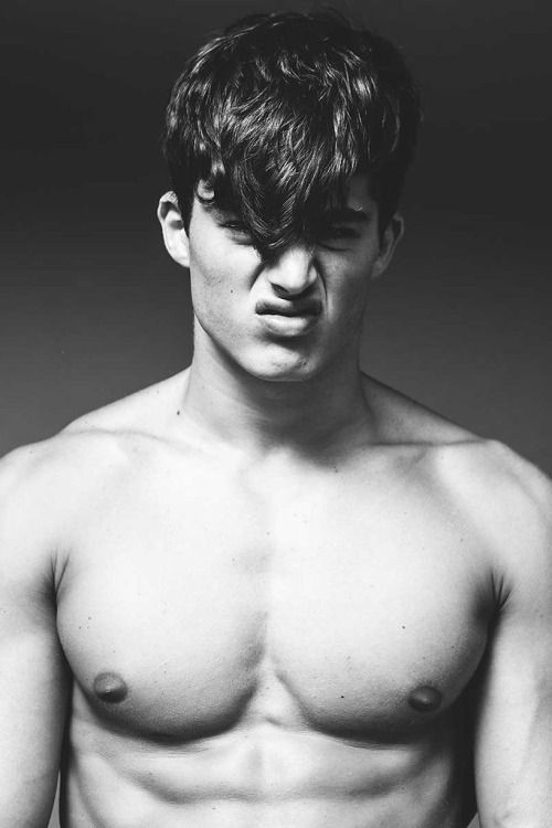 Black and white pic guy bare chest hair on face for Tad