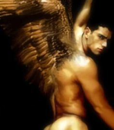 Sexy naked angel man